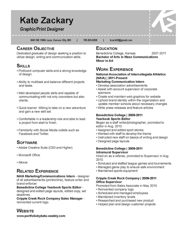 Resume - The Work of Kate Zackary